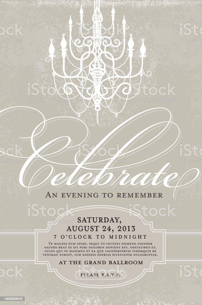 Gray and white Elegant invitation design template with chandelier vector art illustration