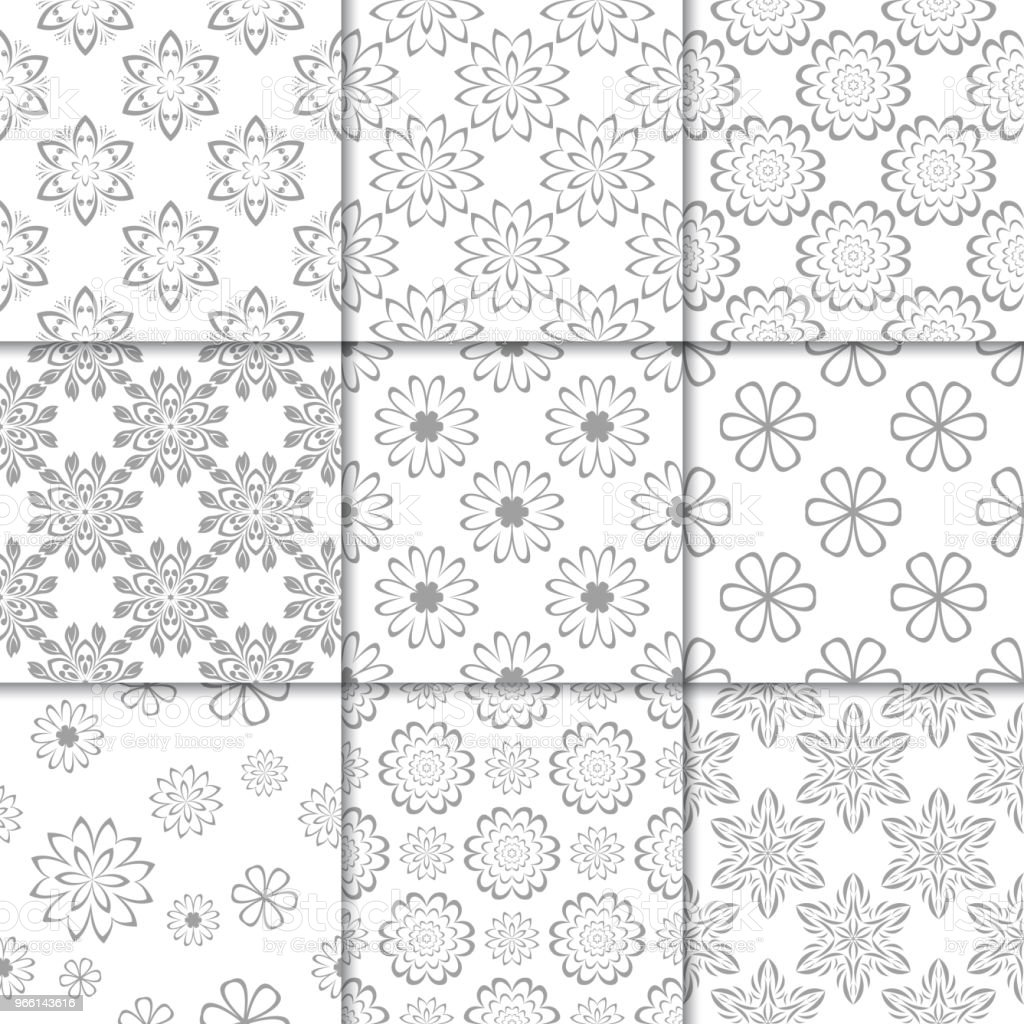 Gray and white floral ornaments. Collection of seamless patterns - Royalty-free Abstract stock vector