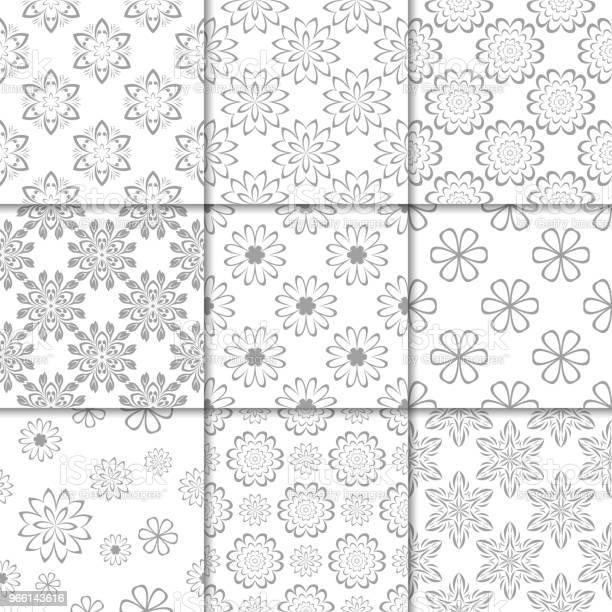 Grå Och Vit Blommig Ornament Samling Av Sömlösa Mönster-vektorgrafik och fler bilder på Abstrakt
