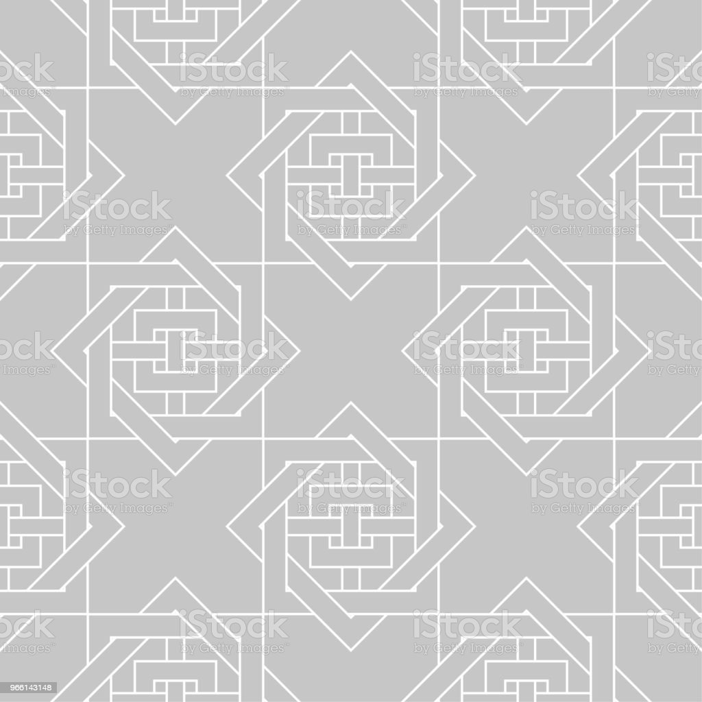 Gray and white geometric ornament. Seamless pattern - Royalty-free Abstract stock vector