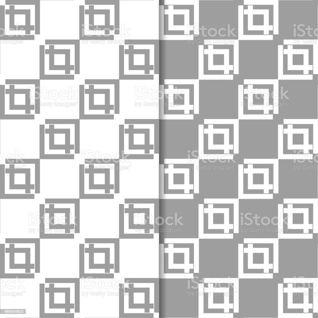 Gray and white geometric ornaments. Set of seamless patterns gray and white geometric ornaments set of seamless patterns - stockowe grafiki wektorowe i więcej obrazów abstrakcja royalty-free