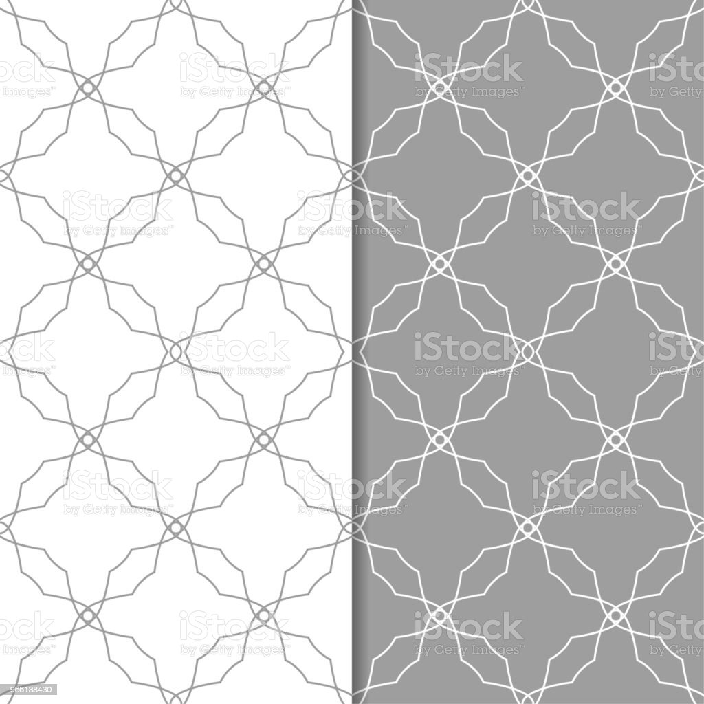 Gray and white geometric set of seamless patterns - Векторная графика Абстрактный роялти-фри