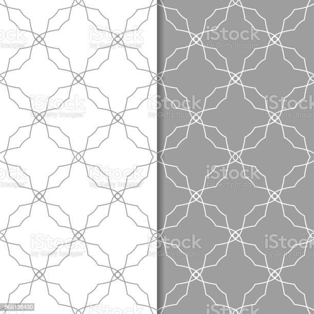 Graue Und Weiße Geometrischen Reihe Von Seamless Pattern Stock Vektor Art und mehr Bilder von Abstrakt