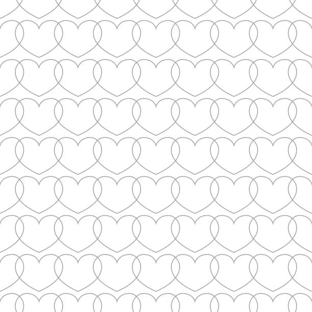 Bекторная иллюстрация Gray and white hearts as seamless pattern. Romantic background