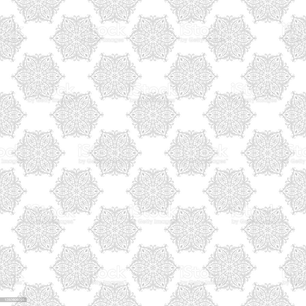 Gray and white seamless print. Geometric pattern in oriental indian style - Векторная графика Азия роялти-фри