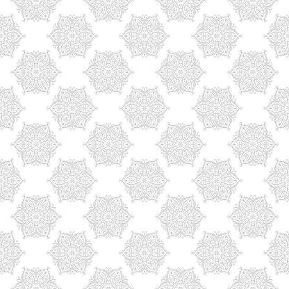 Gray And White Seamless Print Geometric Pattern In Oriental Indian Style — стоковая векторная графика и другие изображения на тему Азия