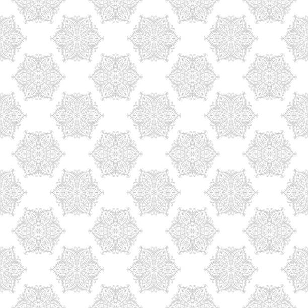 Bекторная иллюстрация Gray and white seamless print. Geometric pattern in oriental indian style