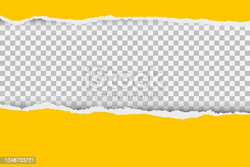 Gray background with copyspace and torn paper edge. Vector illustration
