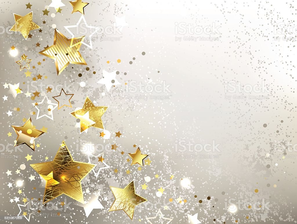 gray background with gold stars vector art illustration