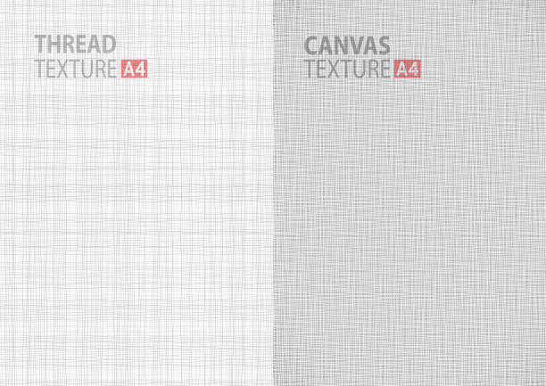 gray backgrounds fabric thread canvas textures in A4 size - Illustration vectorielle