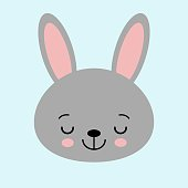 Gray bunny rabbit. Funny head face. Big ears. Cute kawaii cartoon character. Baby greeting card template. Happy Easter sign symbol. Blue background. Flat design. Vector illustration