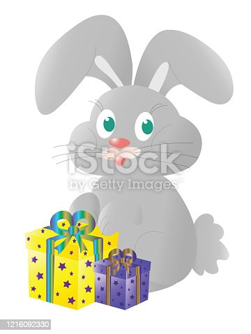 Gray bunny with gifts in colorful boxes. Vector illustration.