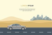 Gray Car Drive in the Desert Vector Illustration