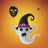 Gray cartoon Halloween ghost, monster, witch in hat and with black ball on orange background.
