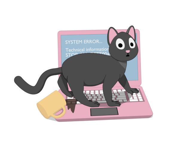 bildbanksillustrationer, clip art samt tecknat material och ikoner med grå katt och en rosa laptop med en skärm av döden. - coffe with death