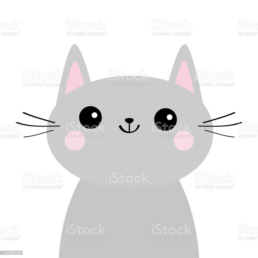Gray Cat Face Silhouette Cute Cartoon Kitty Character Kawaii Animal Funny Baby Kitten