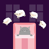 Gray cat sleeping. Jumping sheeps. Cant sleep going to bed concept. Counting sheep. Cute cartoon kawaii baby animal set. Blanket pillow room two windows. Flat design. Violet background.