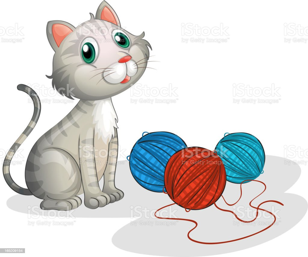 Gray cat with toys royalty-free stock vector art