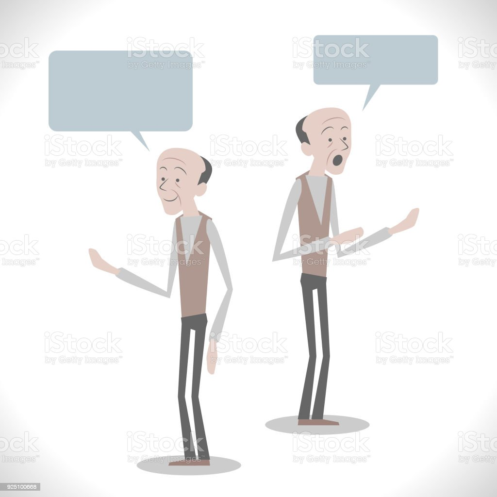 Gray Characters, balding senior man talking with two posture vector art illustration