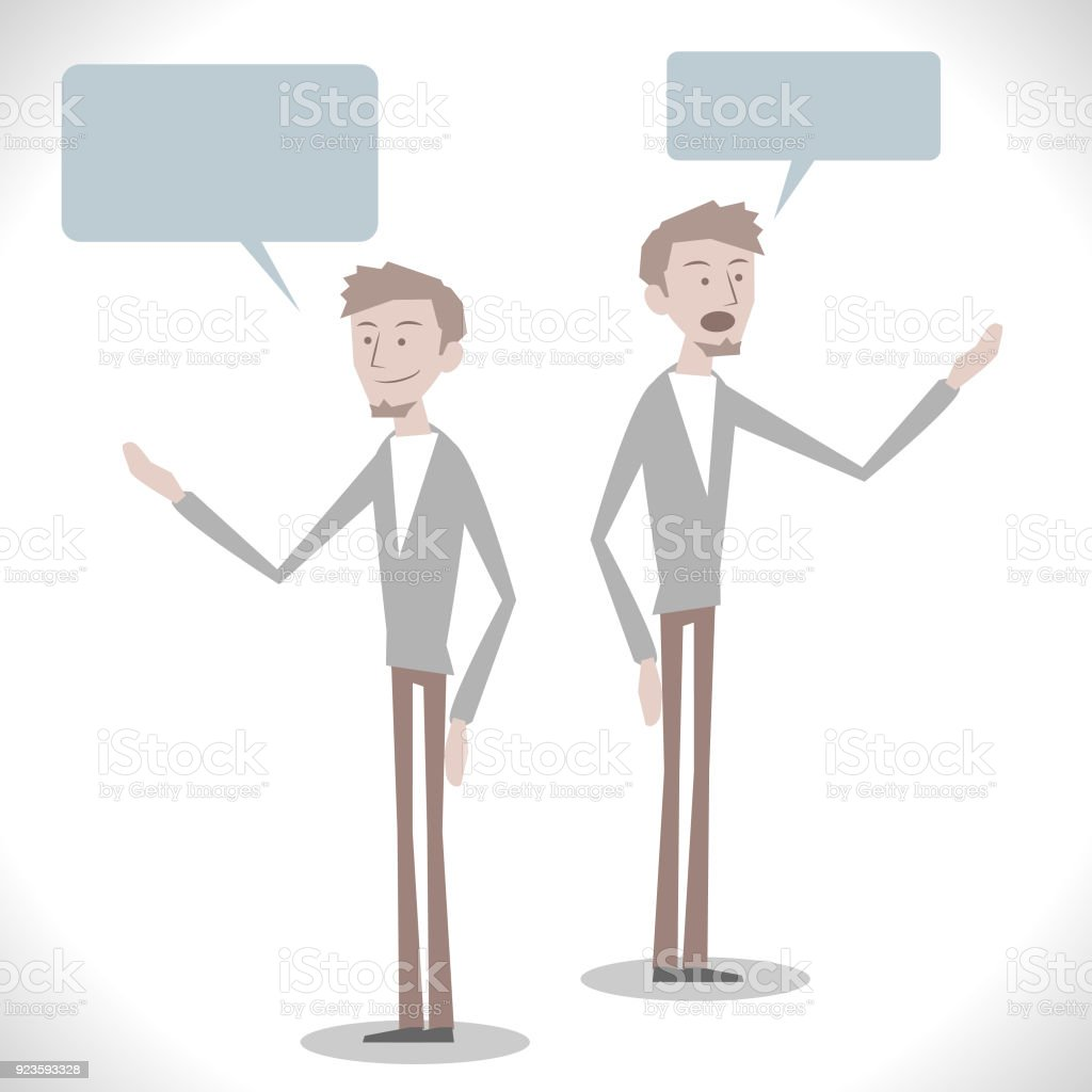Gray Characters, caucasian ethnicity engineer ( teacher, design professional ) talking with two posture vector art illustration