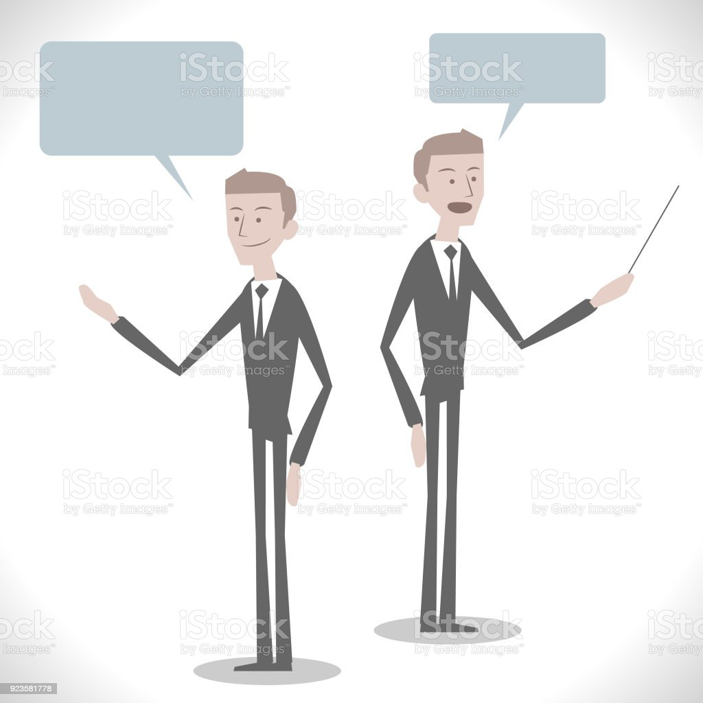 Gray Characters, handsome caucasian ethnicity business man talking with pointer stick ( two posture) vector art illustration