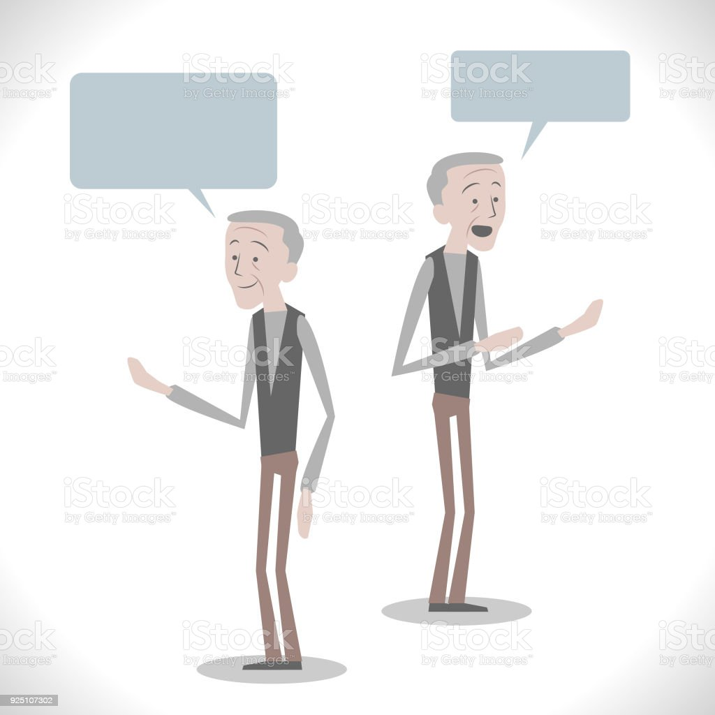 Gray Characters, senior man talking with two posture vector art illustration