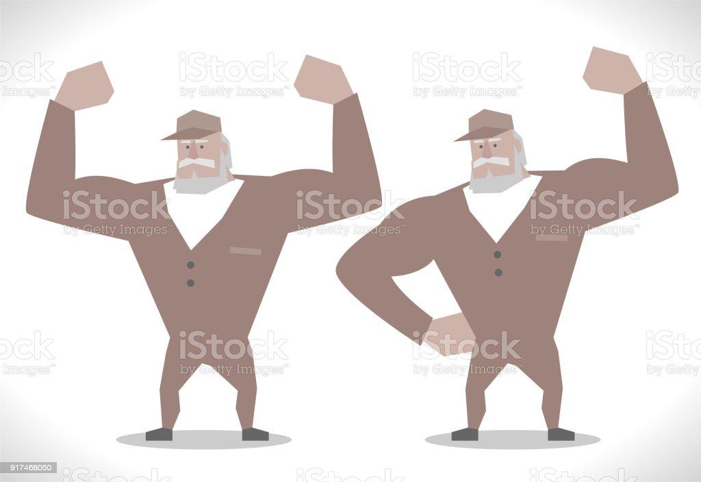 Ilustración de Personajes De Gris Repartidor Fuerte Senior Mostrando ...