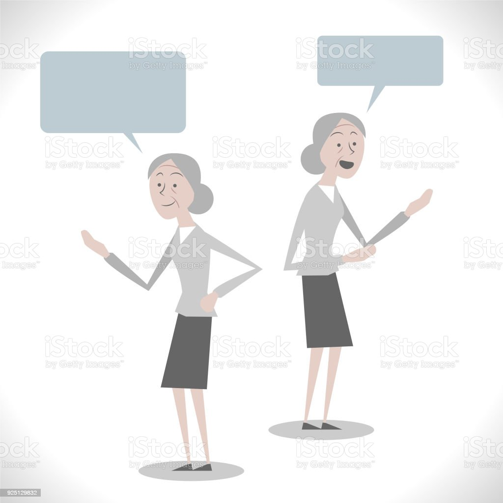 Gray Characters, senior woman talking with two posture vector art illustration