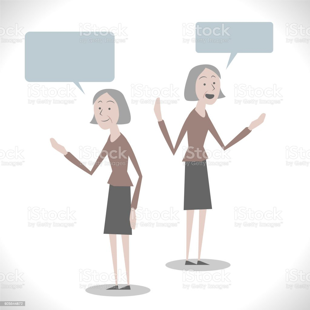Gray Characters, senior (mid adult) woman talking with two posture vector art illustration
