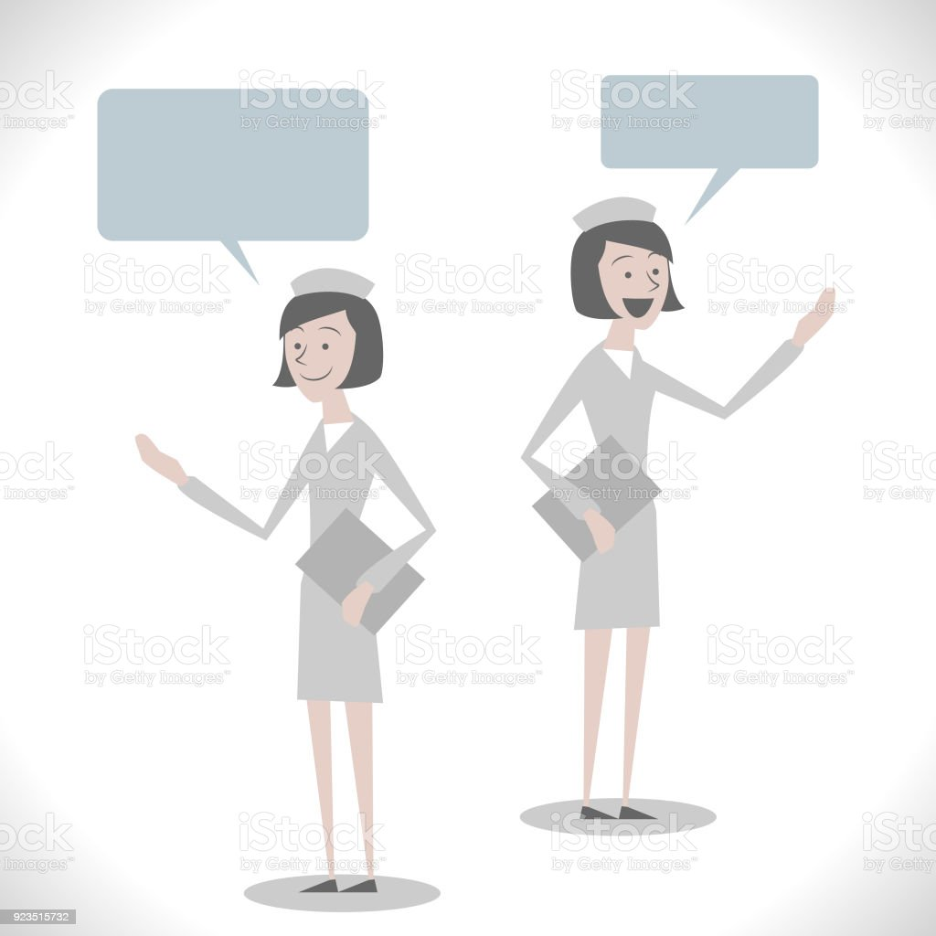 Gray Characters, young female nurse ( elderly care, nursing home ) talking with two posture vector art illustration