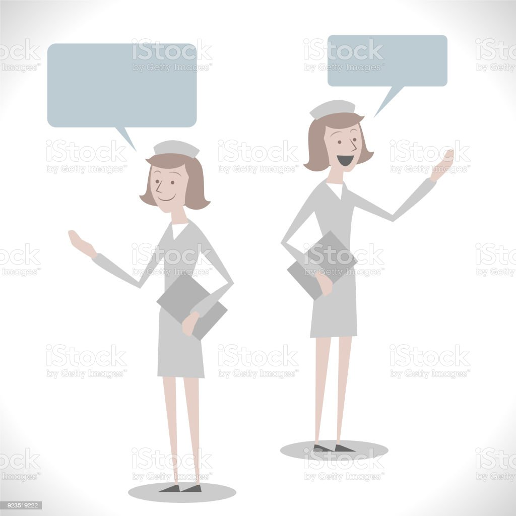 Gray Characters, young female nurse ( elderly care, nursing home, caucasian ethnicity ) talking with two posture vector art illustration