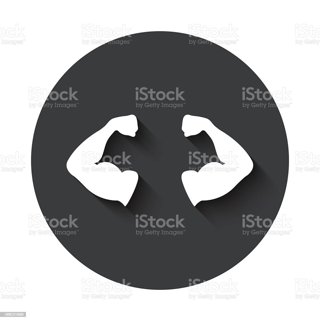 Gray circle emphasizing the arm muscles in a man vector art illustration