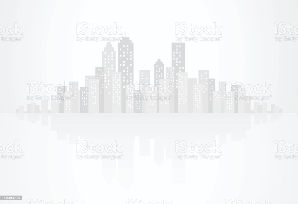 Gray City Skyline and skyscraper buildings with reflection silhouette vector art illustration