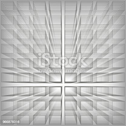 Gray color abstract infinity background, 3d structure with rectangles forming illusion of depth and perspective, vector illustration