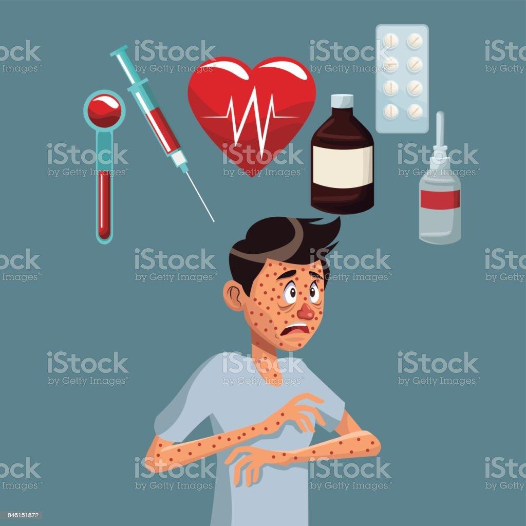 gray color background with rash sickness man half body icons medicine vector art illustration