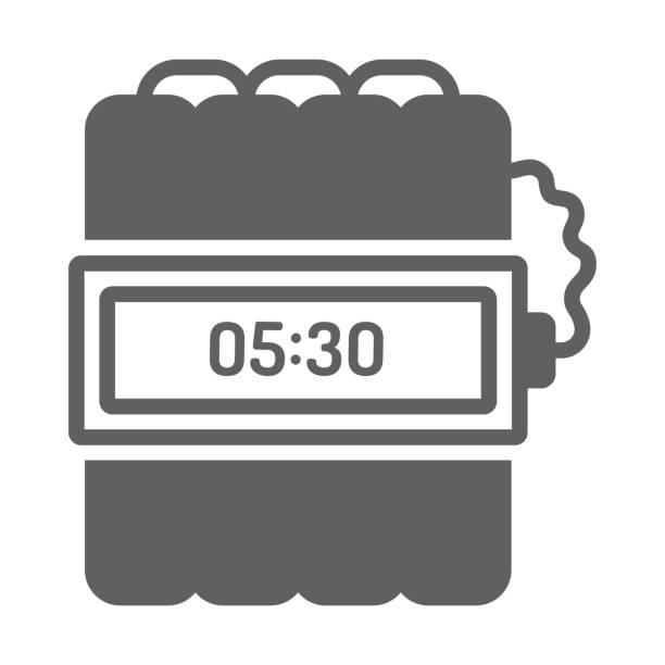 ilustrações de stock, clip art, desenhos animados e ícones de gray color time bomb icon - inflamável