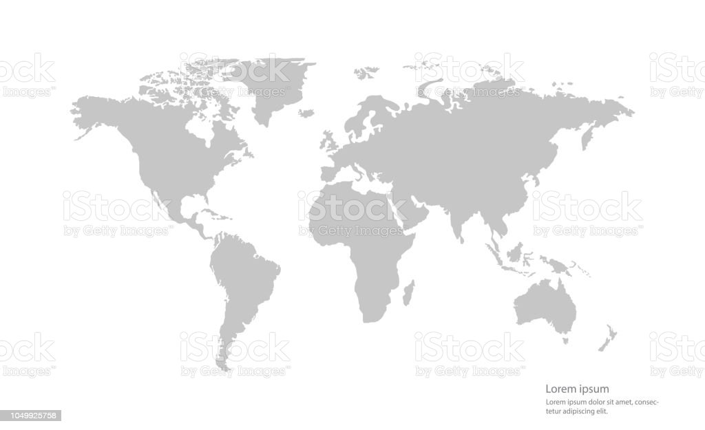 Gray Color Vector World Map On White Background Stock Vector Art