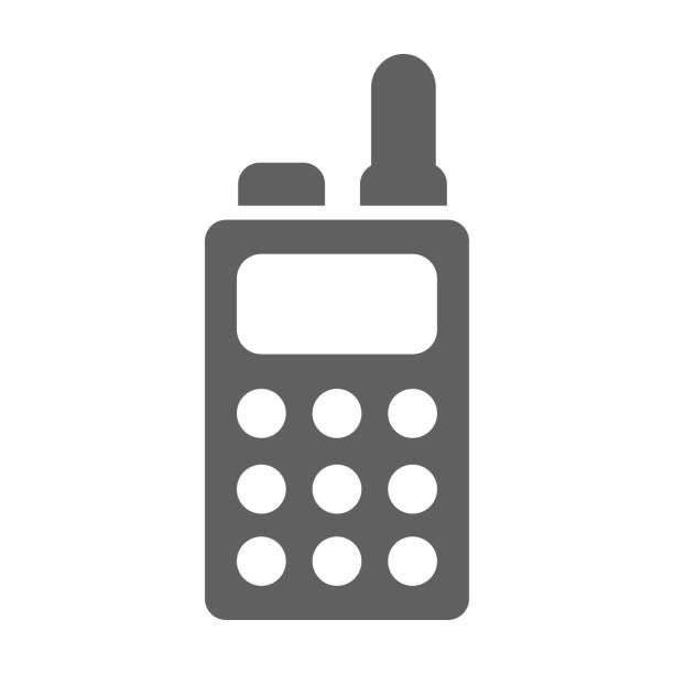 illustrations, cliparts, dessins animés et icônes de icône de talkie de walkie de couleur grise - commissariat