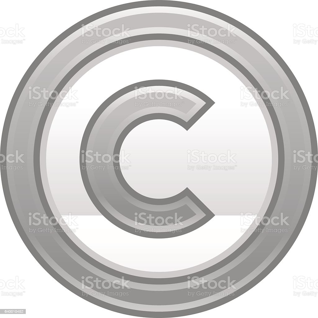 Gray Copyright Symbol Sign Matte Icon vector art illustration