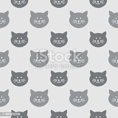 istock Gray Cute Cat Faces Seamless Pattern 1184928209