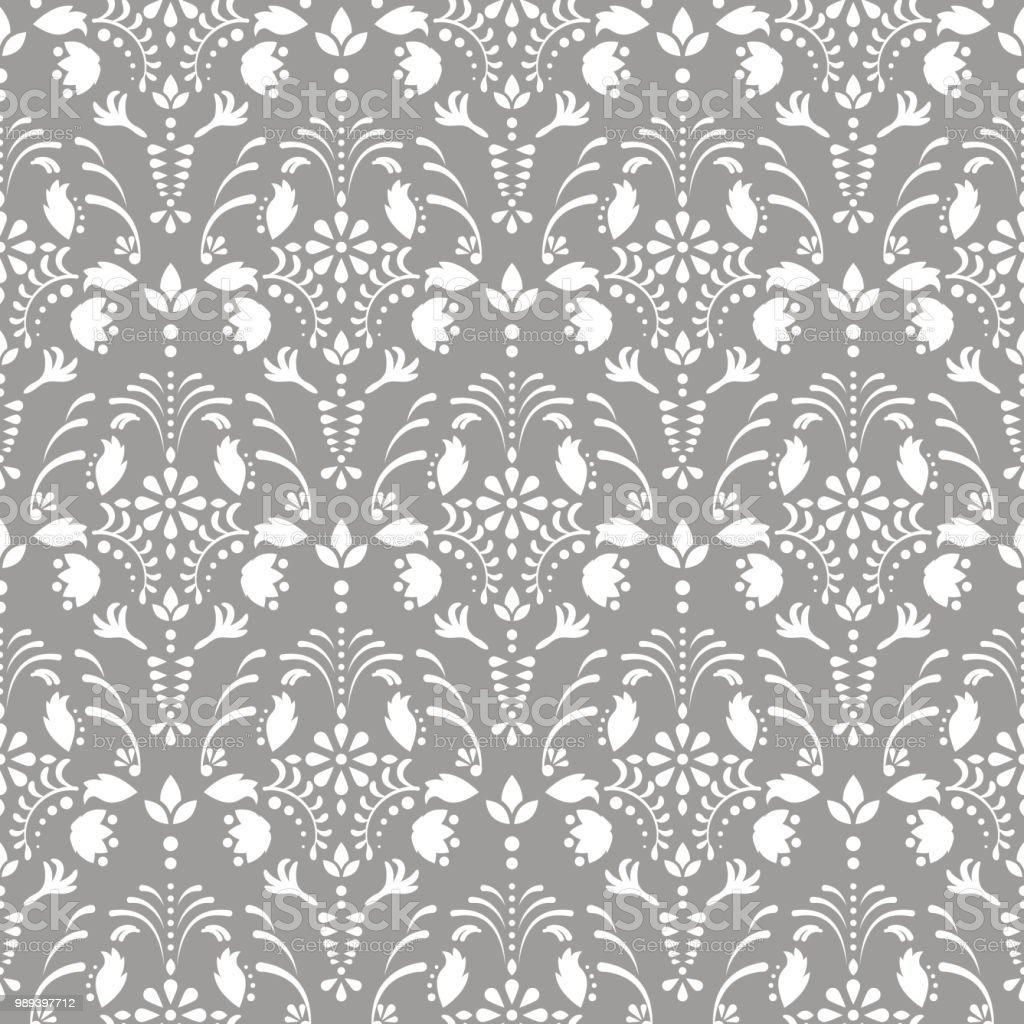 Gray damask floral seamless vector pattern