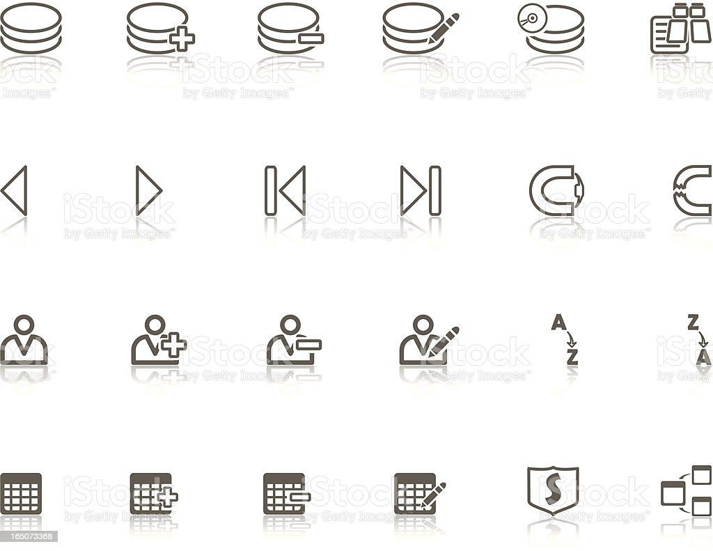 Gray Data Base Icon Set royalty-free stock vector art