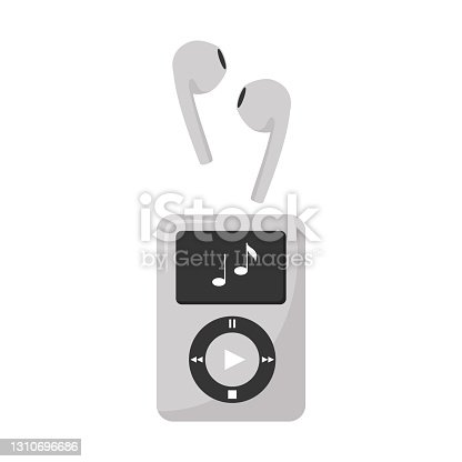 istock Gray digital music player and wireless headphones. Electronic device for listening to music, books, radio, podcasts. A design element. Flat color vector illustration. Isolated on a white background. 1310696686