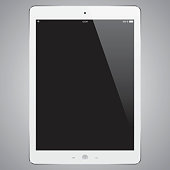 Gray digital tablet with blank screen. EPS10 and alternate formats (hi-res jpg, pdf)