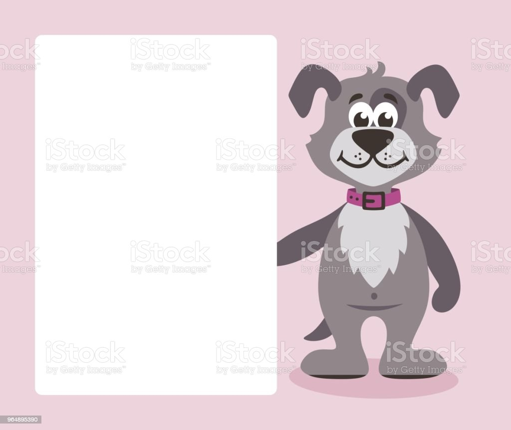 Gray dog with white board. royalty-free gray dog with white board stock vector art & more images of animal