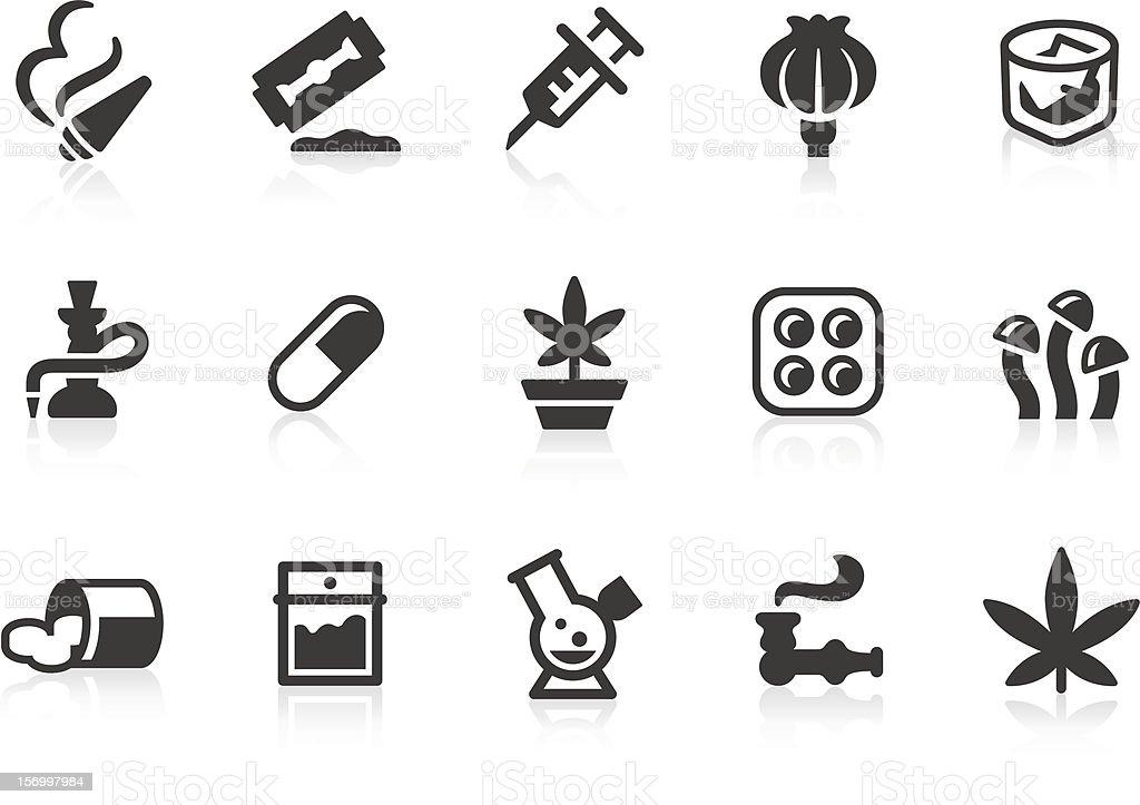 Gray drug icons on white background vector art illustration
