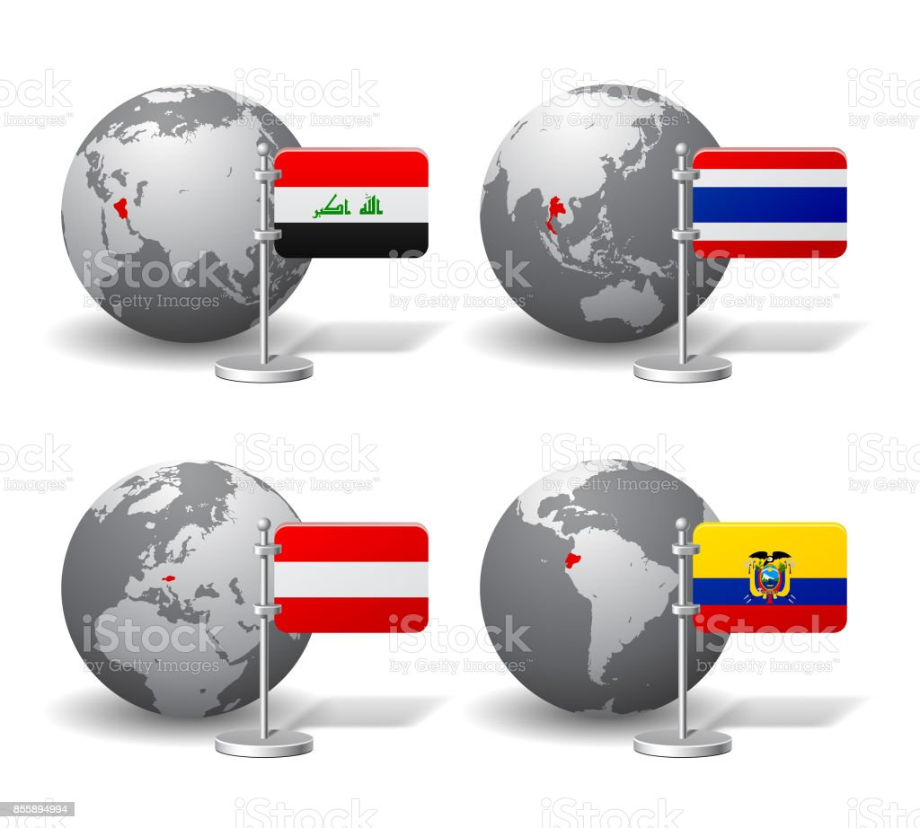 Gray Earth globes with designation of Iraq, Thailand, Austria and Ecuador, with state flags vector art illustration