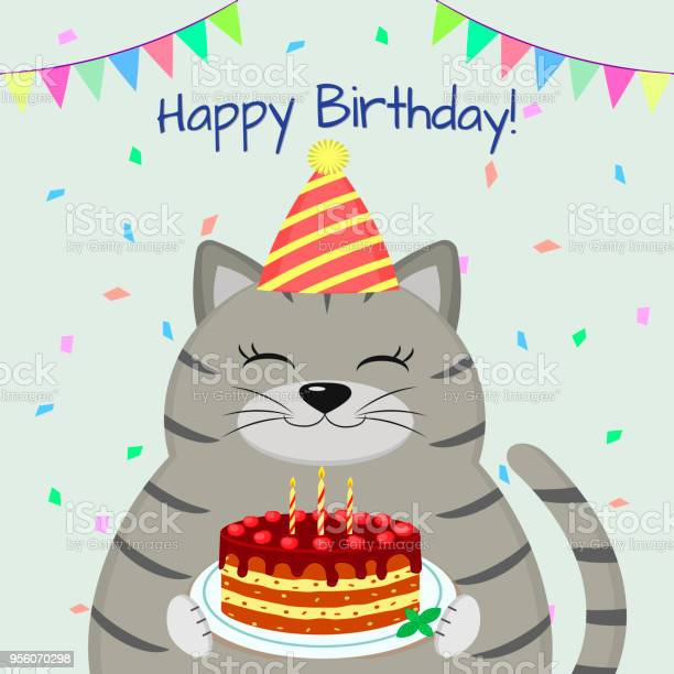 Gray fat cat in the cap sits and holds a cake in its paws happy vector id956070298?b=1&k=6&m=956070298&s=612x612&h=phqzodp0eits3r2uvrv2oqcjdv2pjrynabpthiifpyq=