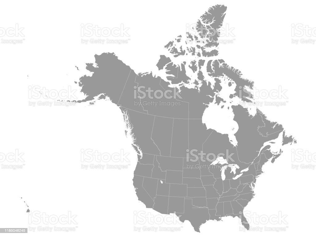 Gray Federal Map of USA and Canada - Grafika wektorowa royalty-free (Bez ludzi)