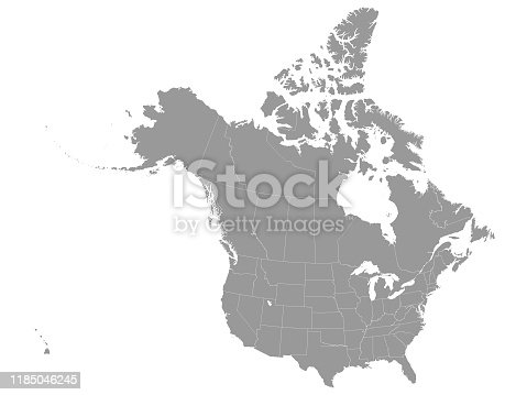 istock Gray Federal Map of USA and Canada 1185046245